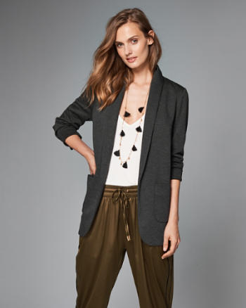 Womens Drape Knit Blazer