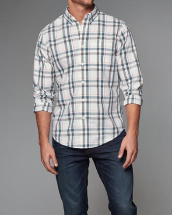 Mens Plaid Poplin Shirt