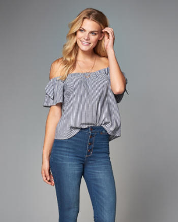 Womens Eyelet Off-The-Shoulder Top