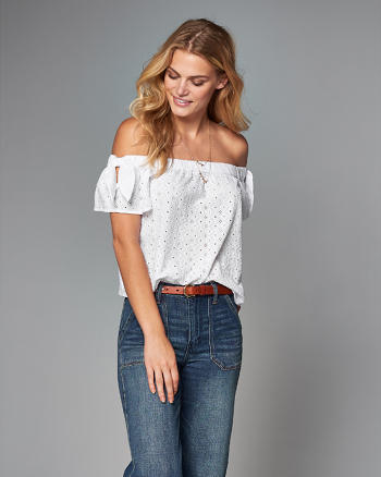 ANF Off-The-Shoulder Tie-Sleeve Top