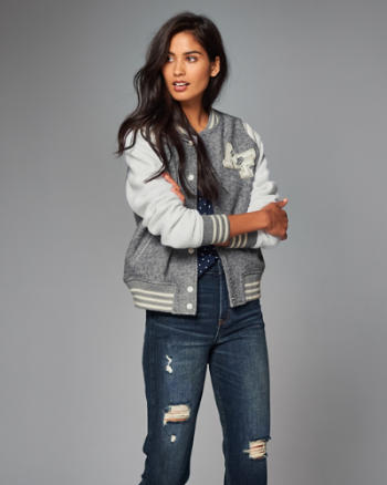 Womens Wool-Blend Varsity Bomber Jacket