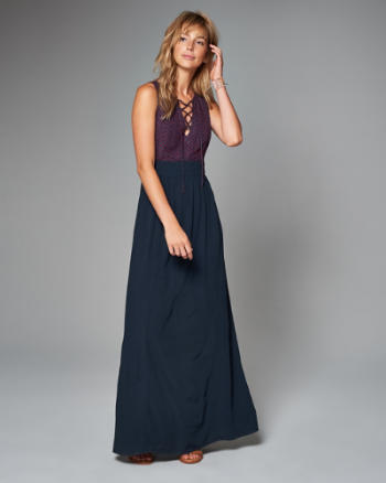 Womens Lace Up Maxi Dress