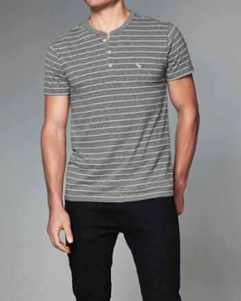 Mens Striped Logo Short-Sleeve Henley