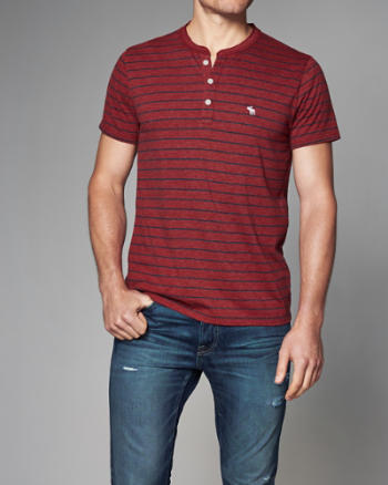ANF Striped Logo Short-Sleeve Henley