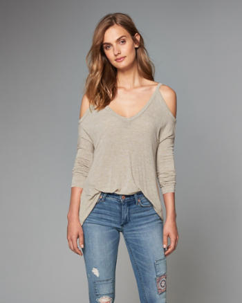 Womens Ribbed Cold Shoulder Top