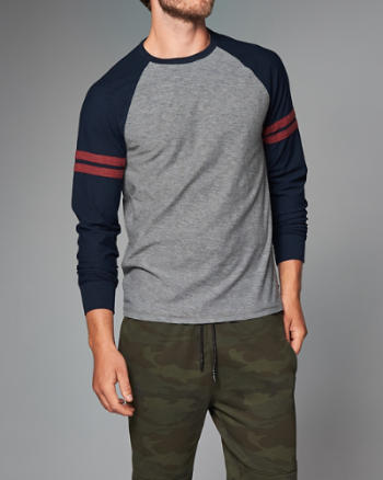 Mens Varsity Raglan Long-Sleeve Tee