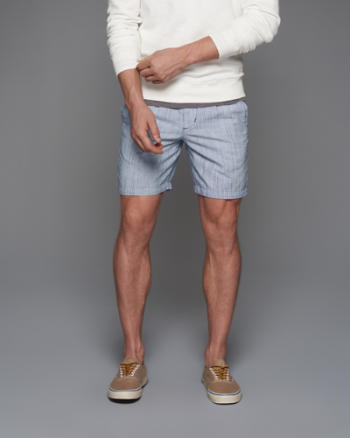 Mens A&F Pleated Linen Preppy Fit Shorts