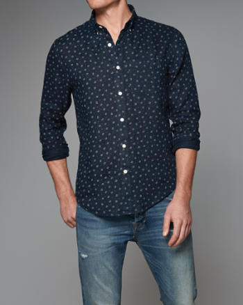 Mens Garment Dye Patterned Linen Shirt