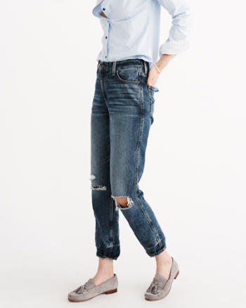 Womens High Rise Girlfriend Jeans