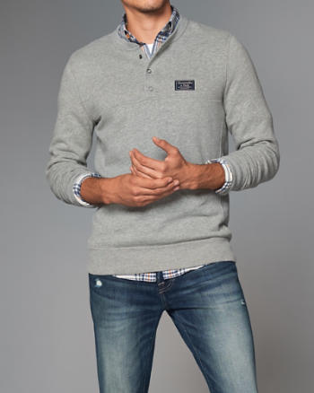 Mens Snap Henley Sweatshirt