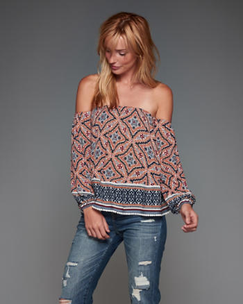ANF Off-the-Shoulder Peasant Top