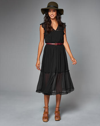 ANF Ruffle Sleeve Midi Dress