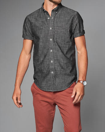 ANF Chambray Short-Sleeve Shirt