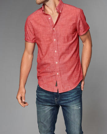 Mens Chambray Short-Sleeve Shirt