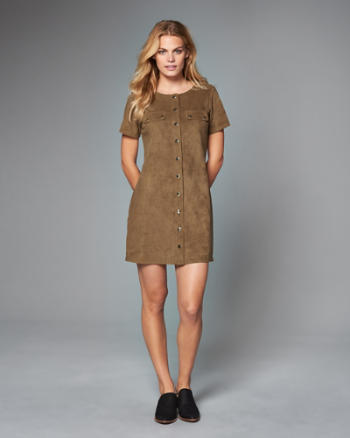 Womens Faux Suede Utility Shift Dress