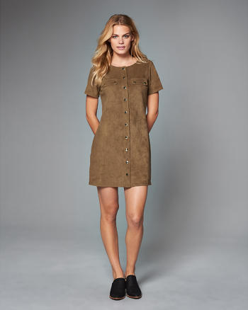 ANF Faux Suede Utility Shift Dress