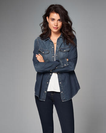Womens Denim Button-Up Shirt