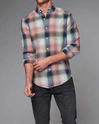 Mens Plaid Twill Shirt