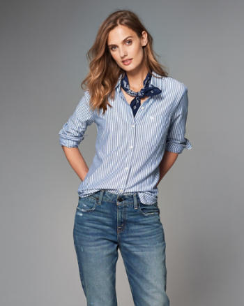 Womens Oxford Button-Up Shirt