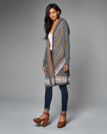 Womens Patterned Long Cardigan