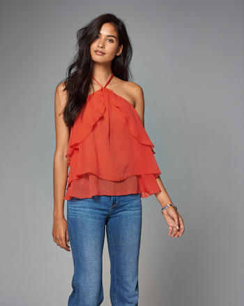 ANF Ruffle High Neck Halter Top