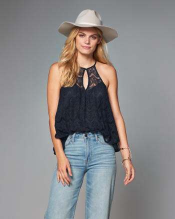 ANF Lace High Neck Halter Top