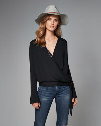 Womens Wrap-Front Top