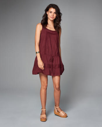 Womens Ruffle-Hem Drop Waist Dress