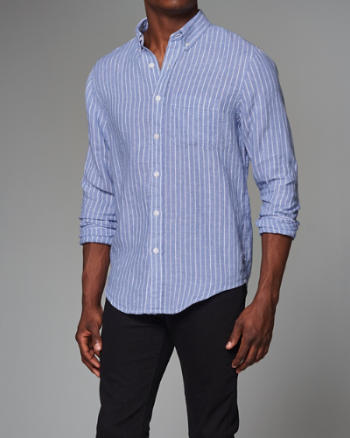 Mens Garment Dye Stripe Linen Shirt