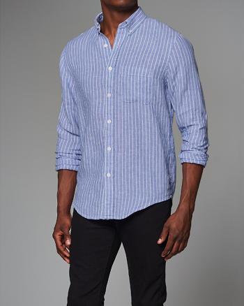 ANF Garment Dye Stripe Linen Shirt