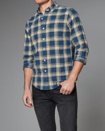 ANF Plaid Homespun Chambray Shirt