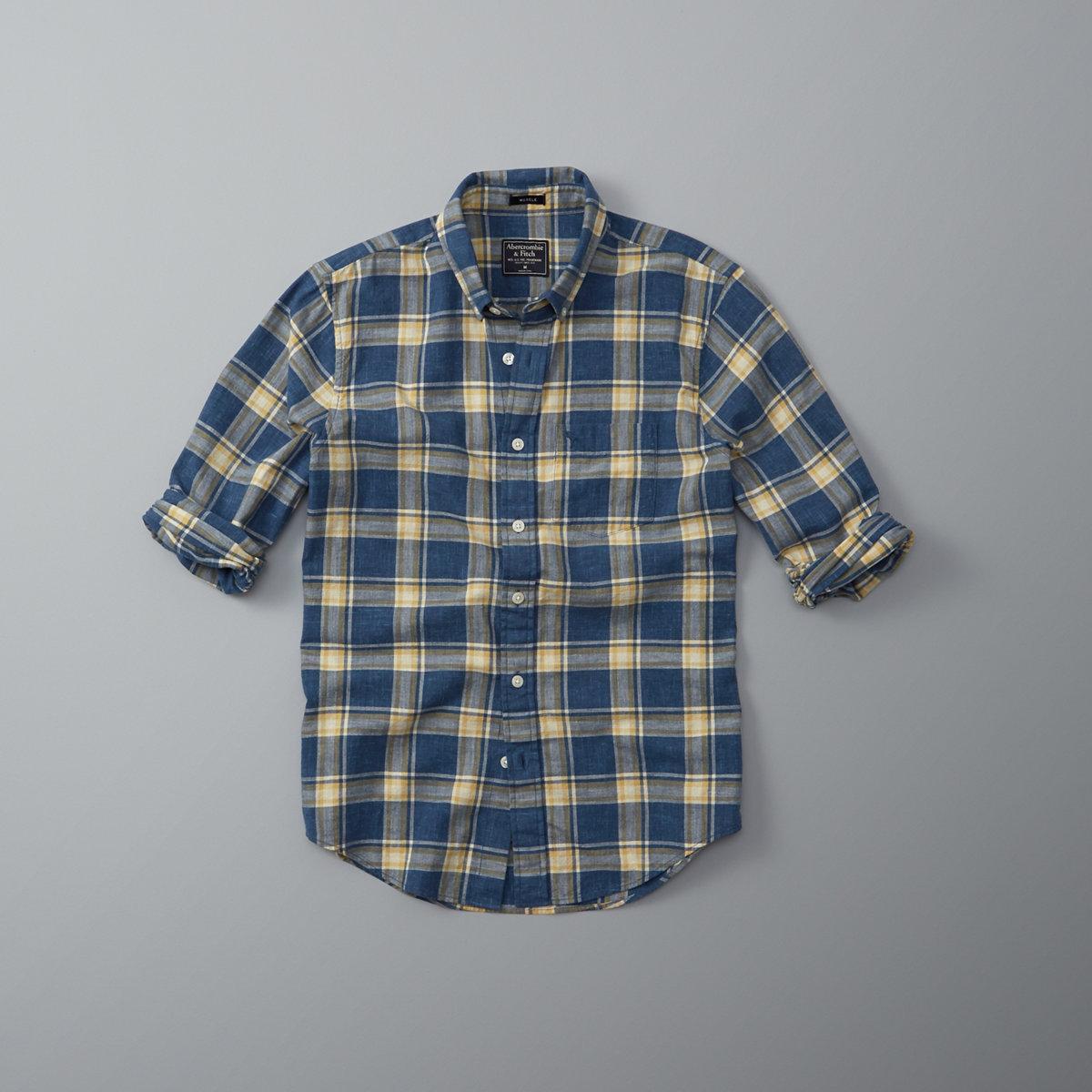 Plaid Homespun Chambray Shirt