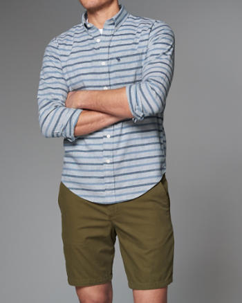 Mens Stripe Homespun Chambray Shirt