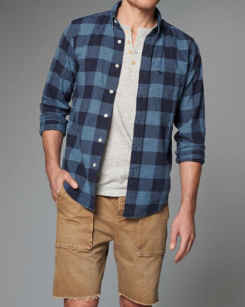 Mens Plaid Homespun Chambray Shirt