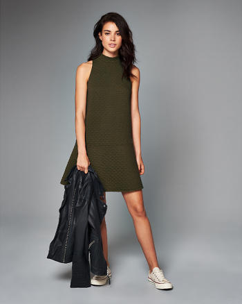 ANF Mock Neck Drop Waist Dress