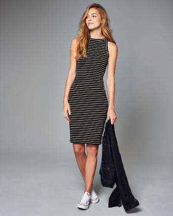 ANF Striped Bodycon Midi Dress