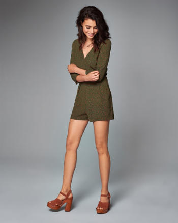 Womens Wrap-Front Romper