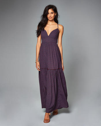 Womens Printed Tiered Maxi Dress