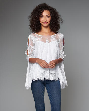 ANF Embroidered Lace Split Sleeve Peasant