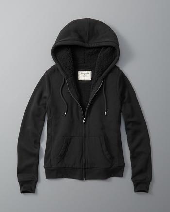 ANF Sherpa-Lined Full-Zip Hoodie