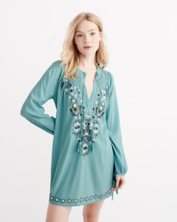 Womens Embellished Tunic Dress