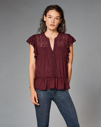 ANF Ruffle Button-Front Top