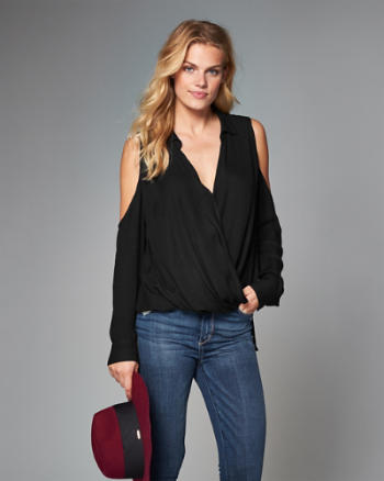 Womens Cold Shoulder Wrap Top