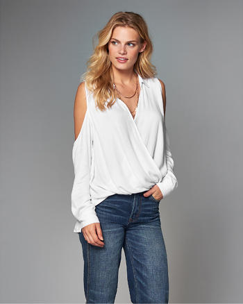 ANF Cold Shoulder Wrap Top