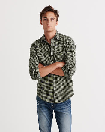 ANF Classic Fit Washed Oxford Shirt