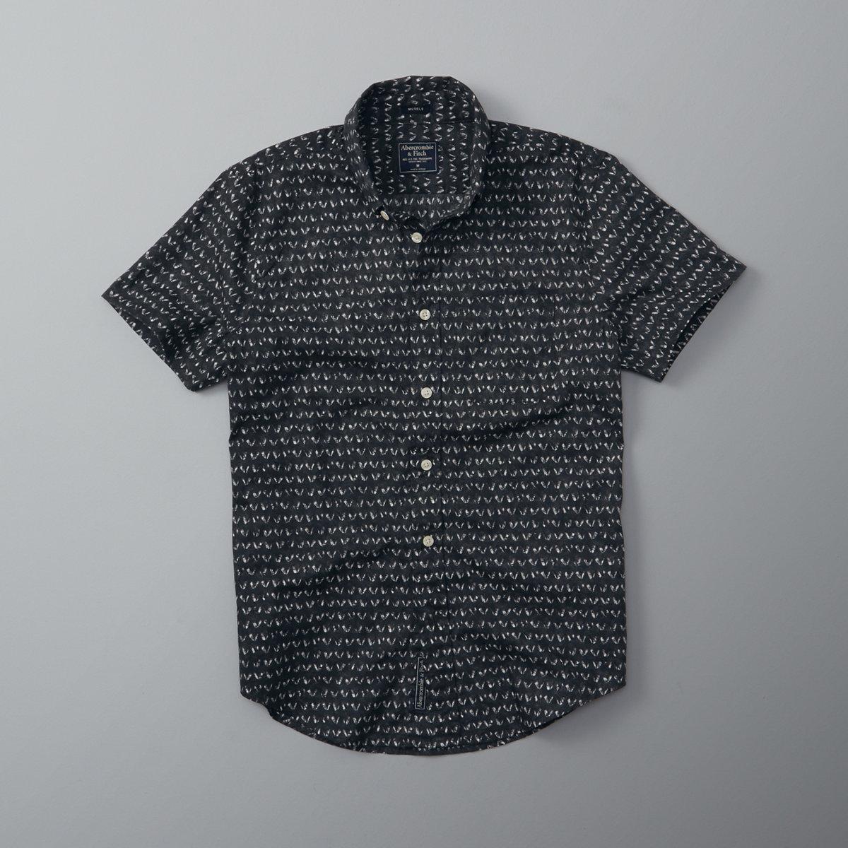 Patterned Poplin Short Sleeve Shirt