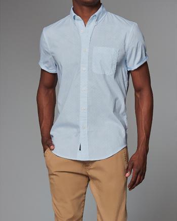 ANF Patterned Poplin Short Sleeve Shirt