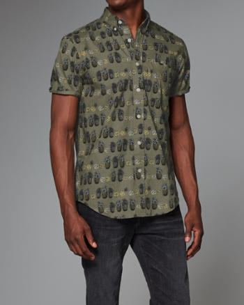 Mens Patterned Poplin Short Sleeve Shirt