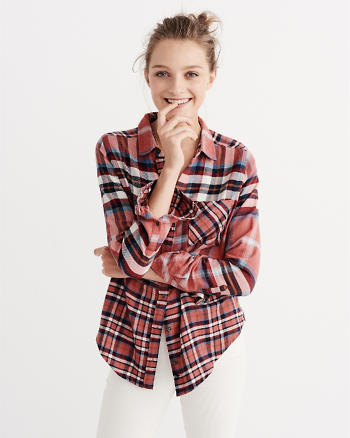ANF Mixed Plaid Button-Up Shirt