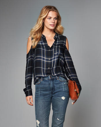 Womens Plaid Cold Shoulder Wrap Top